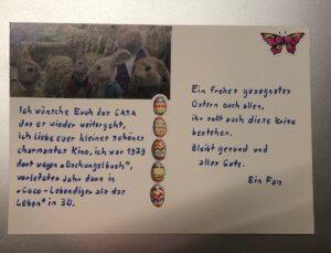 Postkarte eines Fans mit guten Wünschen ans Kino